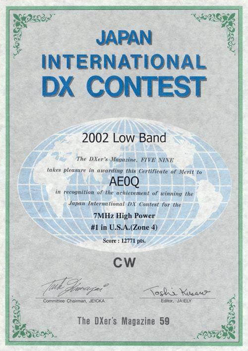 JIDX Low Band Contest 2002