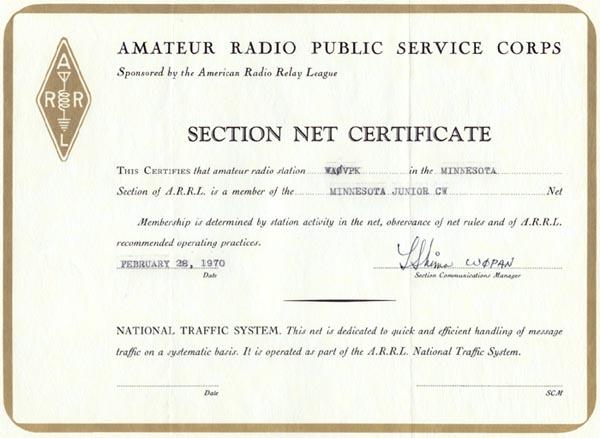 WA0VPK Minnesota Section Net Certificate 1970