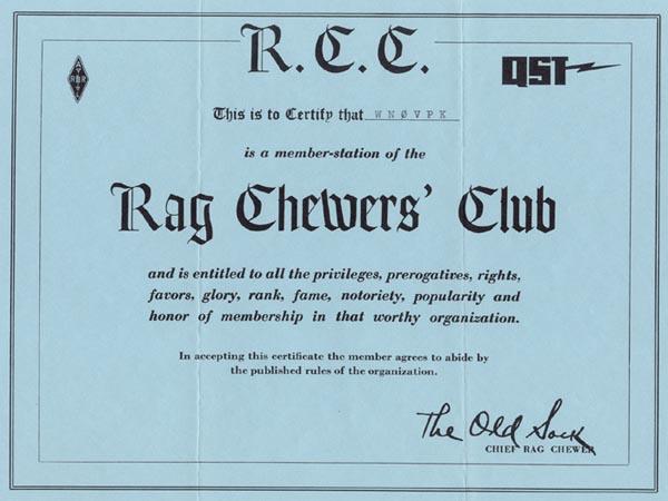 WN0VPK RAG CHEWERS CLUB Certificate