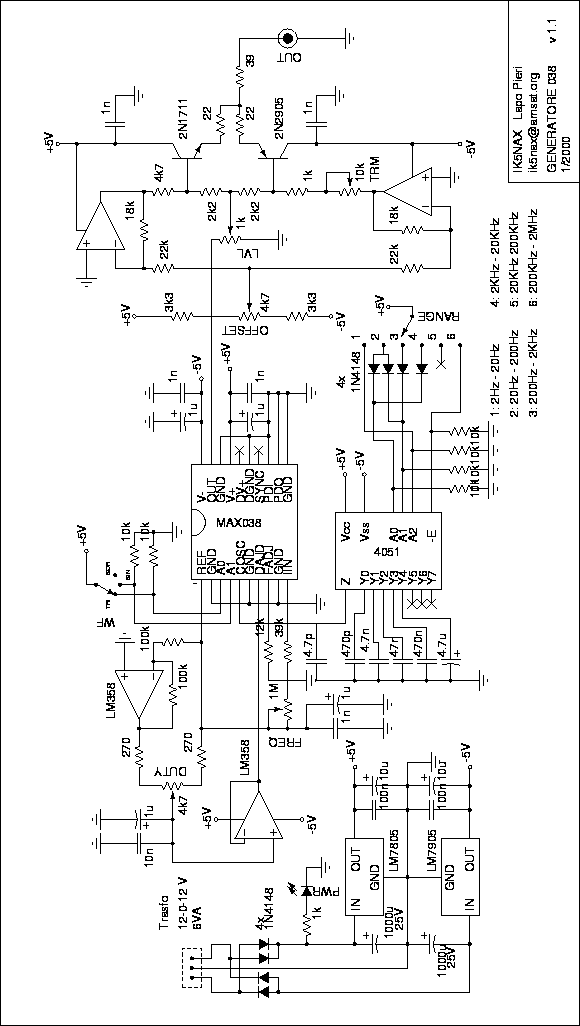 Schema Elettrico Generatore Di Corrente : Generatore di funzioni il circuito