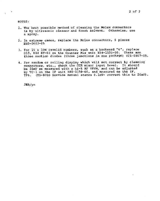 Asb B on Kenwood Amateur Radio Service Bulletins By Model Numbernote