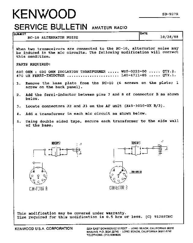 ASB0927 kenwood amateur radio service bulletins by model numbernote Single Phase Transformer Wiring Diagram at webbmarketing.co
