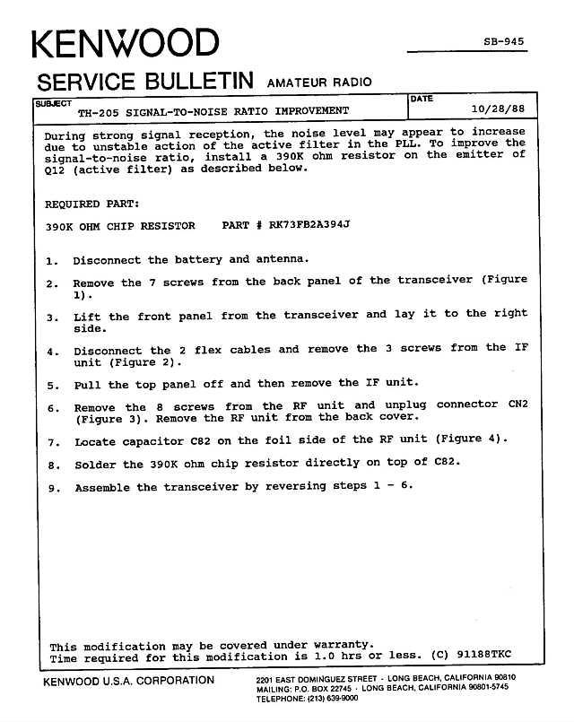 Kenwood Amateur Radio Service Bulletins By Model NumberNote