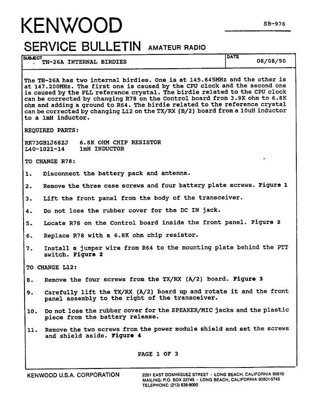 Asb A on Kenwood Amateur Radio Service Bulletins By Model Numbernote