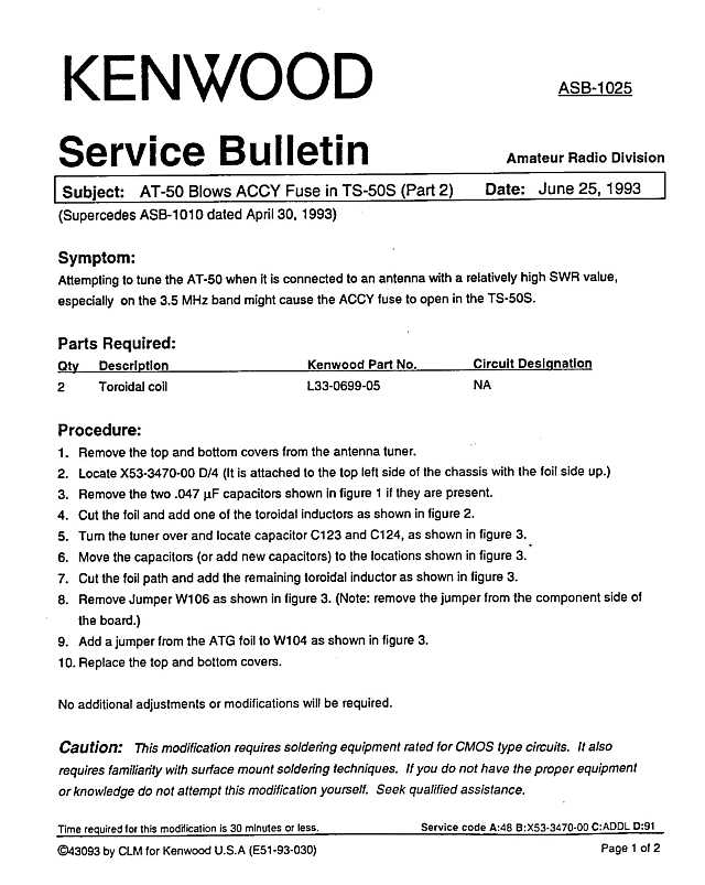 Kenwood Amateur Radio Service Bulletins By Model NumberNote
