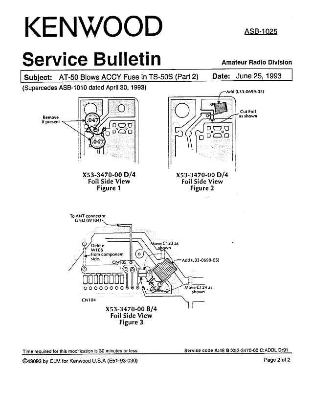 Kenwood Amateur Radio Service Bulletins By Model NumberNote on