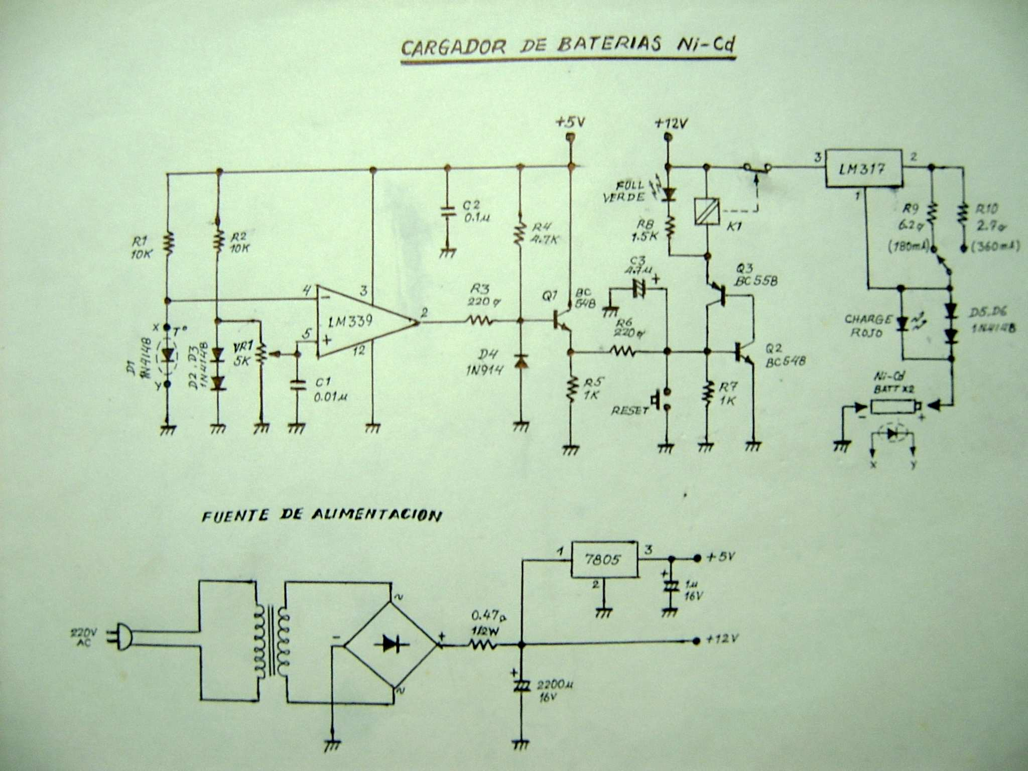 Circuito Zener : Cargador de baterias