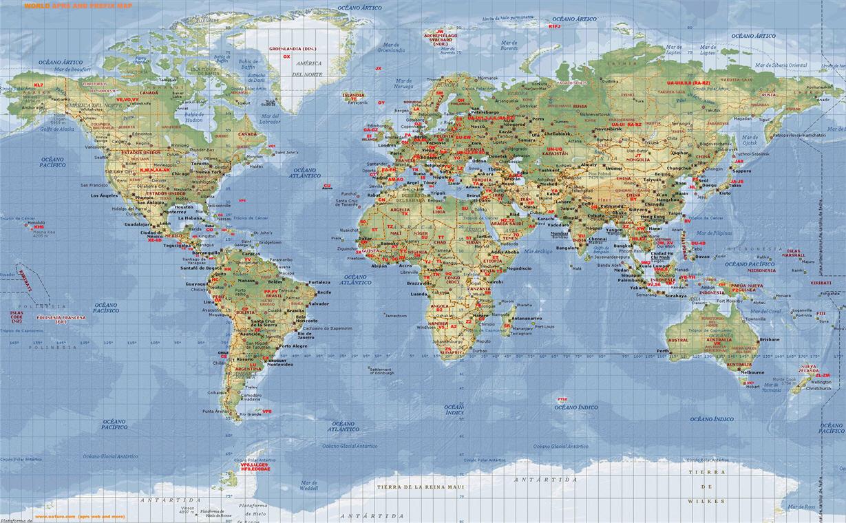 Mapa mundial con indicativos
