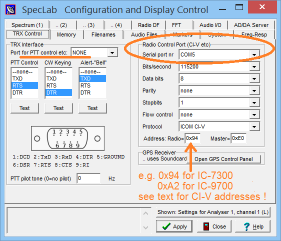 Spectrum Lab Configuration Dialog