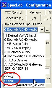 Audio via COM port (for Spectrum Lab)