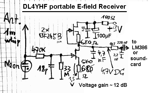 pc with soundcard used as vlf receiveractive e field antenna with dual fet frontend
