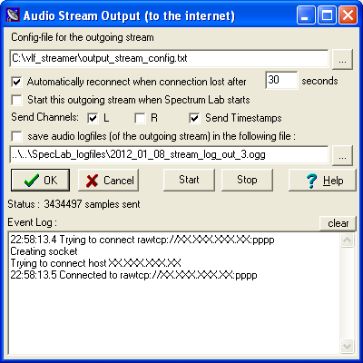 Sending and receiving internet audio streams