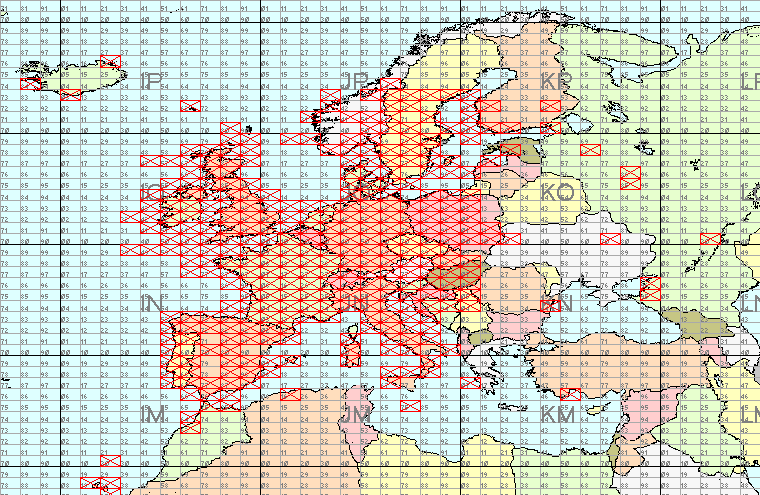 Map...all-time locator squares 144mhz to 27/07/2006