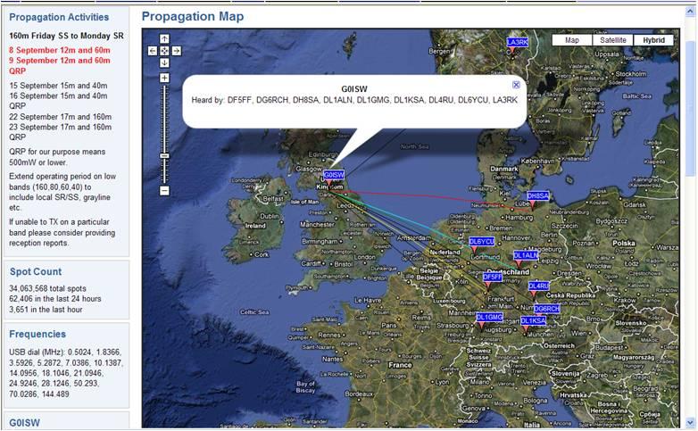 WSPR 10 MHz signals dipole 03.09.2010