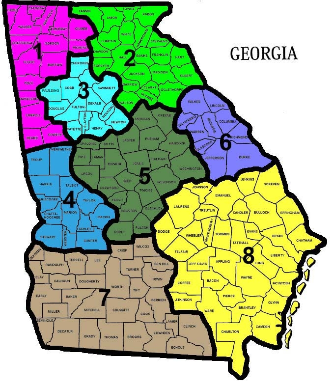 Georgia Section ARES Emergency Response Plan - Counties map georgia
