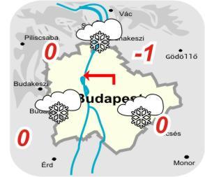 Budapest és környékének időjárási térképe