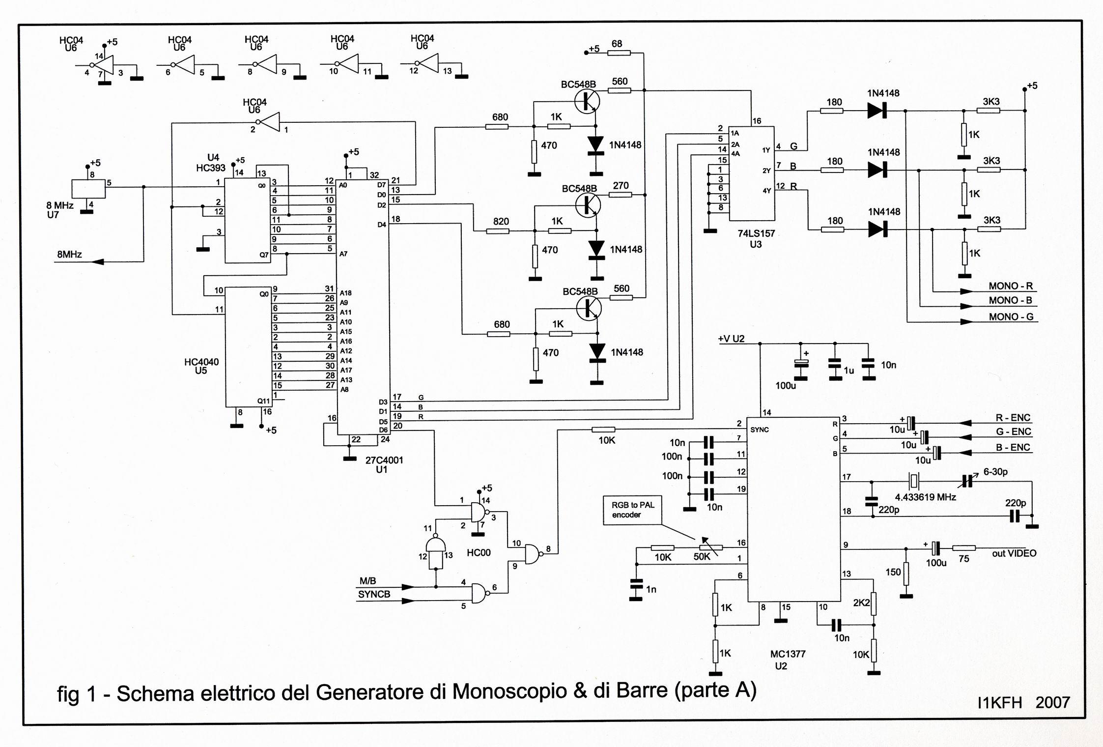 Schema Elettrico Generatore Di Ultrasuoni : Generatore di monoscopio barre