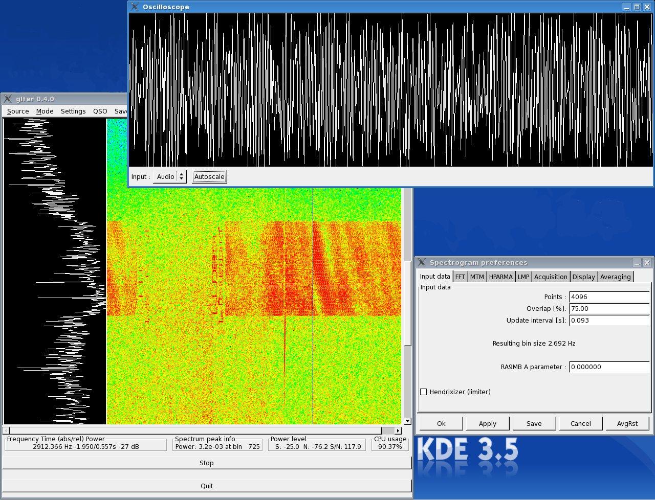 glfer - a Linux spectrogram viewer and QRSS/DFCW transmitter