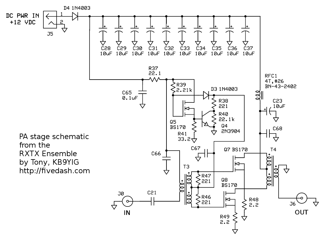 Small Hf Pa With Bs170 Mosfets Class C Amplifier Circuit Diagram Low Power Driver Schematic