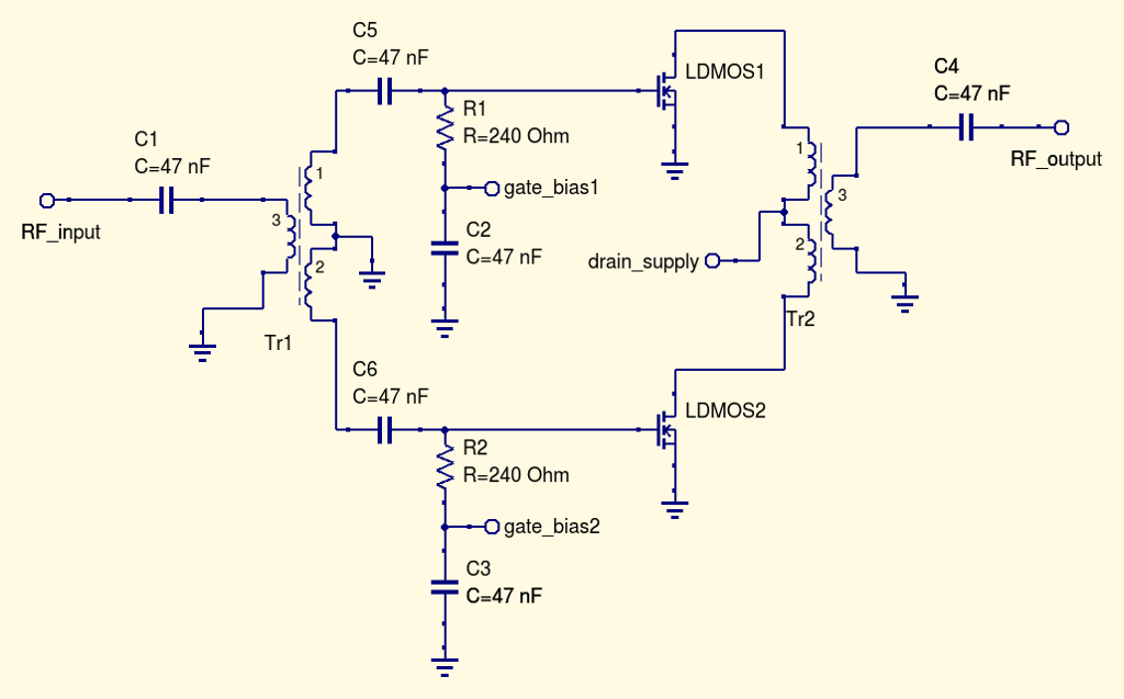 Wideband push-pull low-power amplifier measurements
