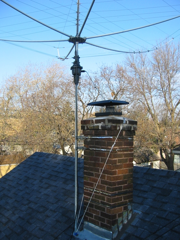 Antenna Mounted To Chimney Rope Is For Added Support