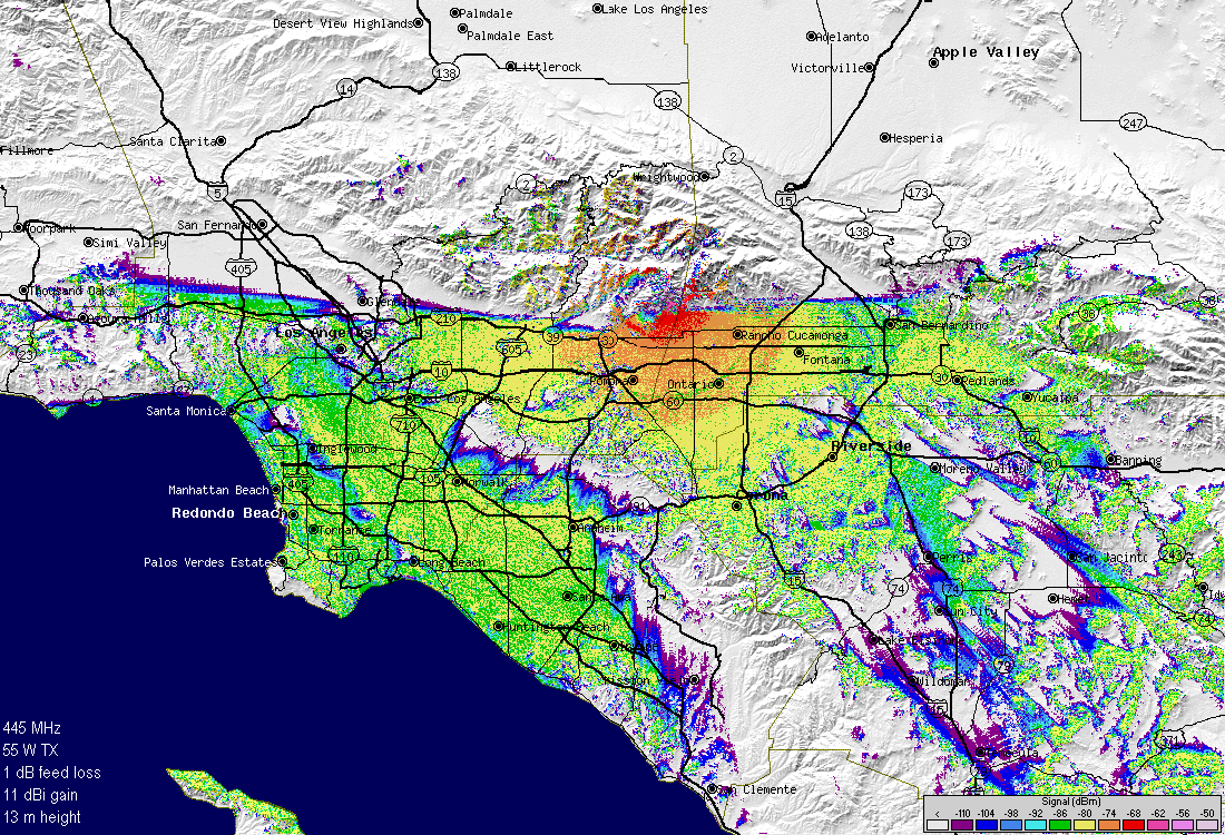 Sunset Ridge Repeater Group KE6TZF: Line-Of-Sight Coverage Maps