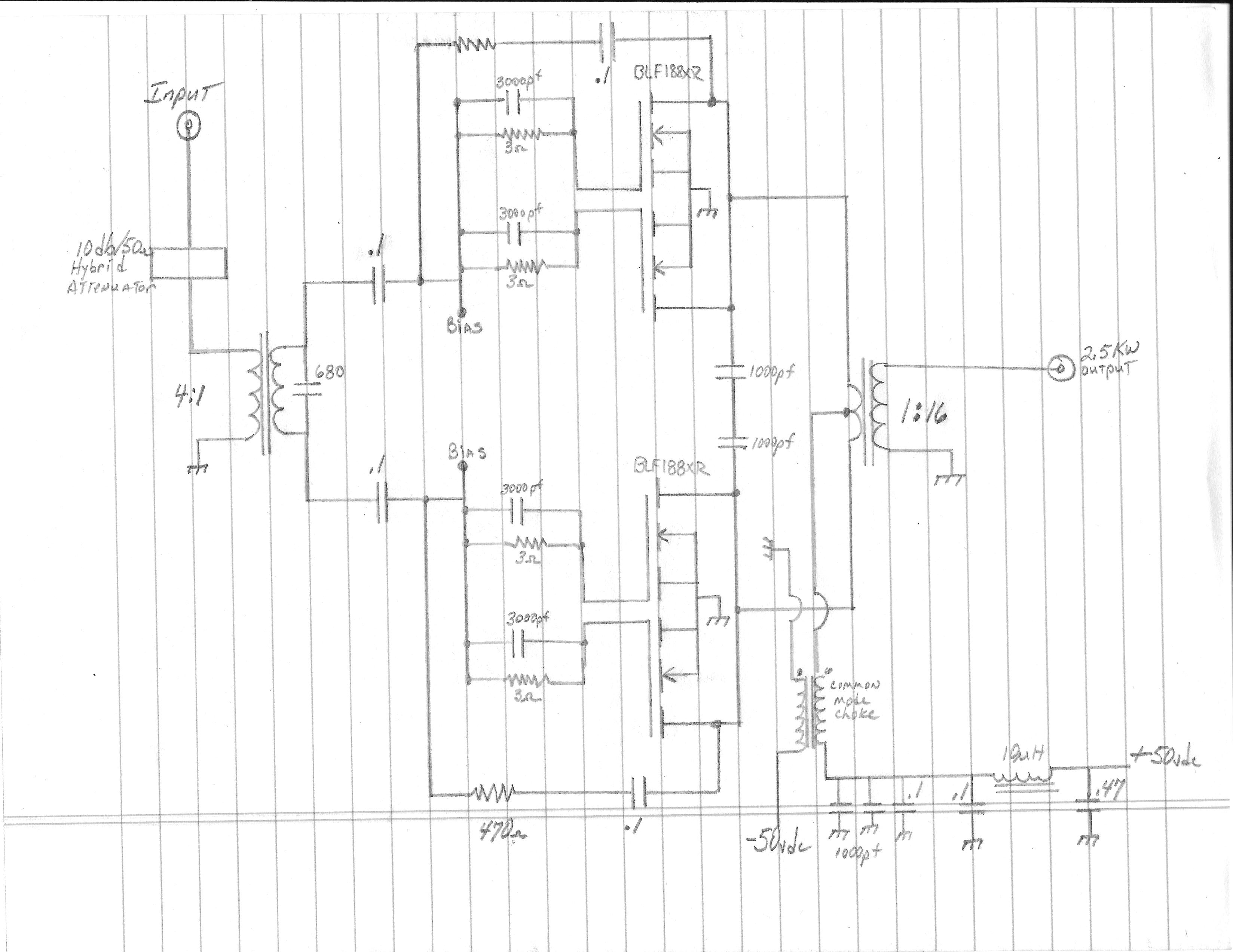 2 X Blf188xr Amplifier 18 54mhz Amp Meter Circuit Connect The 50vdc Supply With An In Set Bias Pots For 40 Ohms Turn On