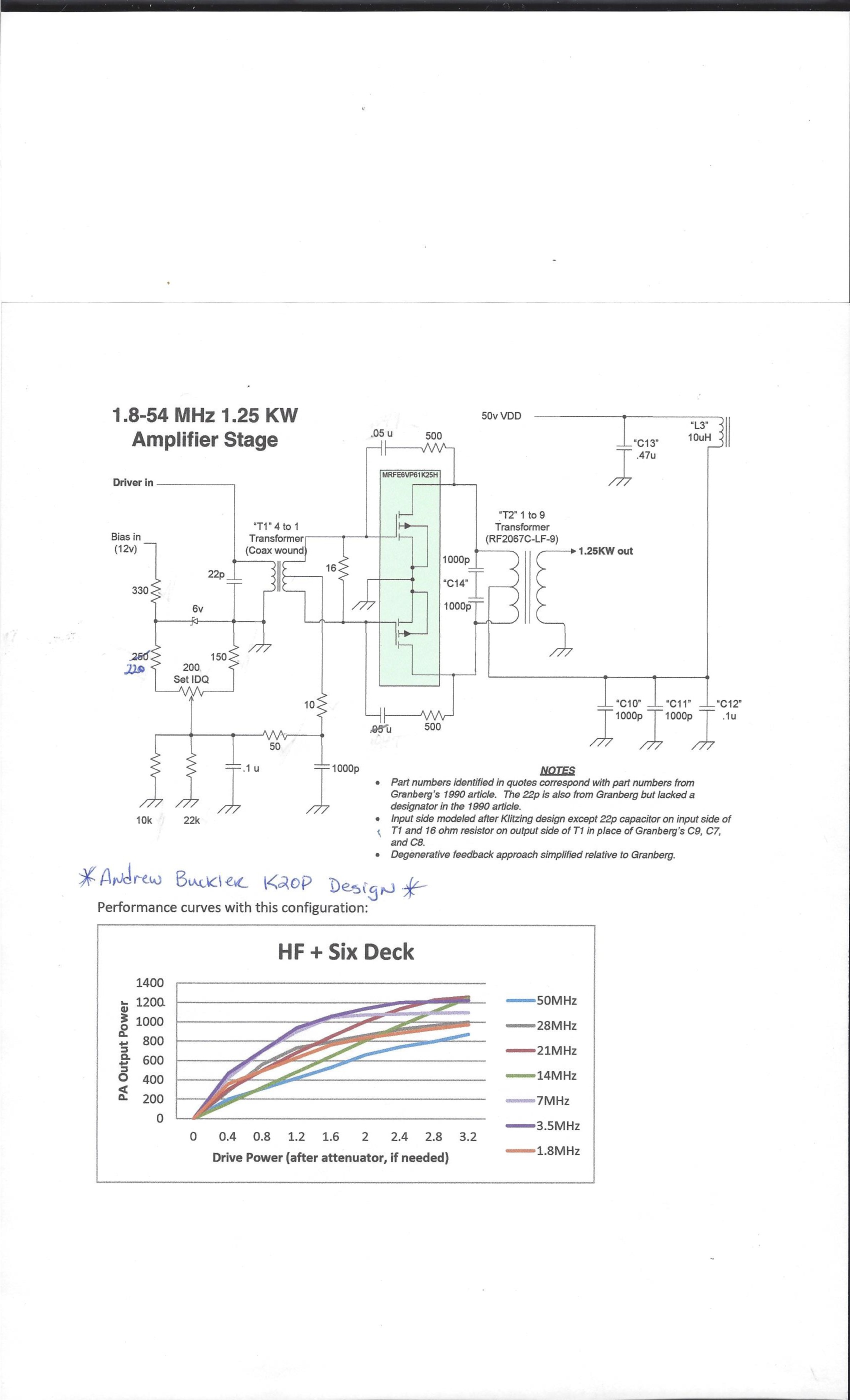 18 54mhz Mrfe6vp61k25h 125kw Solid State Amplifier Cb Technical Circuit Always Install Thermistors In The Bias 10k And 22k Resistors Should Be