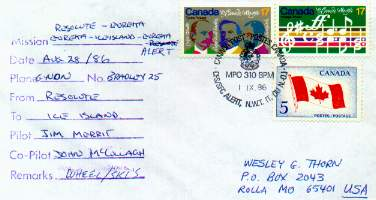 Flight cover for ski landing and postmarked from Canadian Forces Alert.