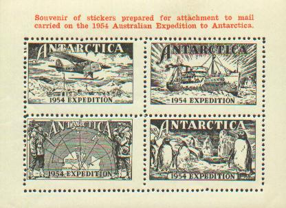 Cinderella labels prepared for usage during the 1954 Australian Antarctic Expedition.