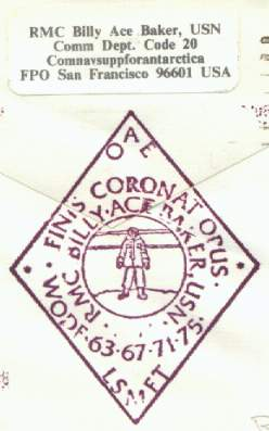 Close-up of Billy-Ace Baker personal cachet and return address label.
