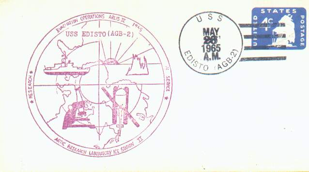 Scan of cover for the evacuation operations of the Floating Ice Station ARLIS II, postmarked aboard the U.S.S. Edisto, AGB-2.