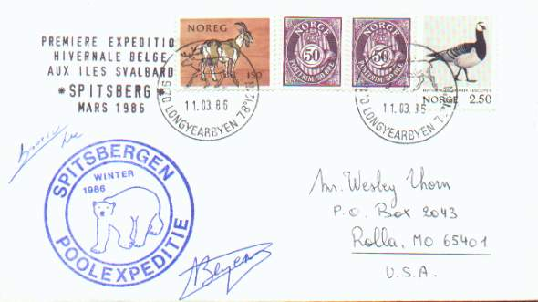 Scan of cover from the First Belgian Spitsbergen Expedition in 1986.