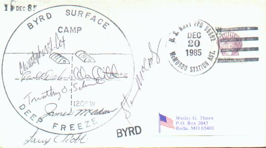 Byrd surface camp with multiple signatures.