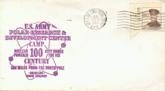 Scan of 1963 cover from Camp Century, Greenland with U.S. Army Polar Research and Development cachet.