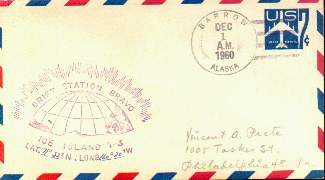 Scan of cover from Drift Station Bravo, postmarked at Barrow, Alaska.