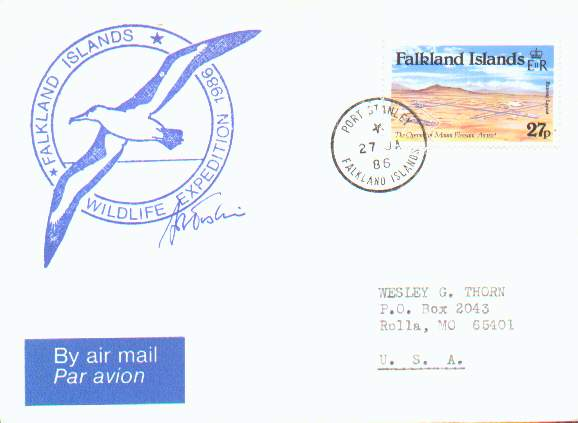 Cover from the 1986 Erskine Wildlife Expedition to the Falkland Islands.