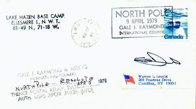 Scan of cover from the Wheeler Polar expedition, serviced by Gale J. Raymond.