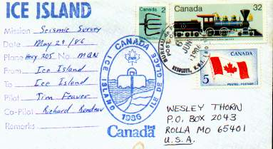 1986 flight cover for a seismic survey.