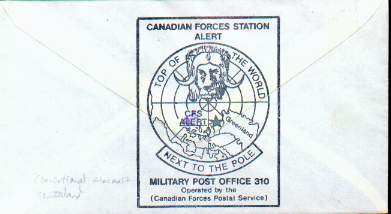 Cachet that appears on back of the flight cover immediately above.