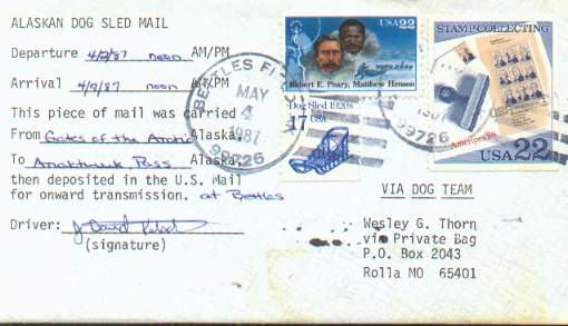 Dog Team cover postmarked at Bettles Field, Alaska in 1987.
