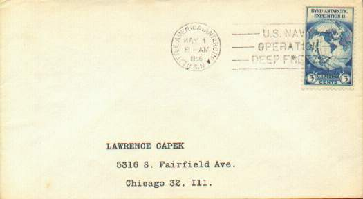 1956 Little America cover with machine cancel, no cachet.