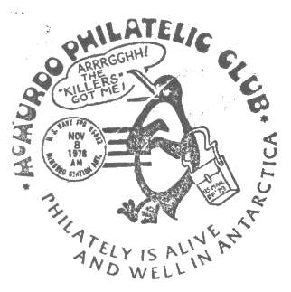 Close-up of the McMurdo Philatelic Club cachet applied to outgoing mail at McMurdo Station Antarctica, circa 1973.