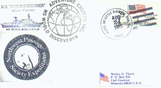 Cover from the cruise ship World Discoverer on Northwest Passage, postmarked at Little Diomede Rural Branch, Alaska.
