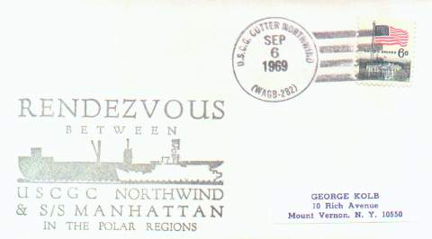 Philatelic cacheted cover noting the rendezvous of the USCGC Northwind and the oil tanker S.S. Manhattan, in arctic waters, 1969.