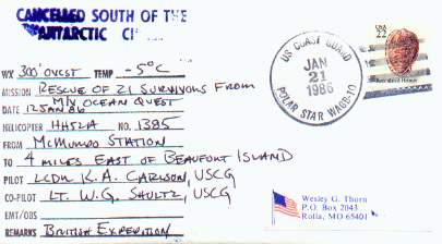 Documented flight cover from the USCGC Polar Star for rescue of the M/V Southern Quest.
