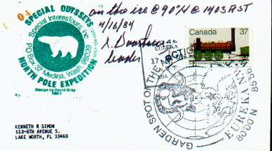 Scan of cover from SpecialInterestours North Pole Expedition signed by Skip Voorhees, leader.