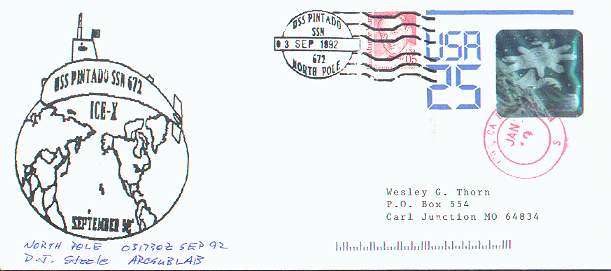 Cacheted cover from the U.S.S. Pintado, with signature of director, ARCSUBLAB.