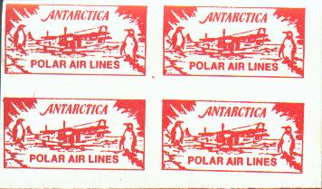 Cinderella labels for Antarctica Polar Air Lines, red and white.
