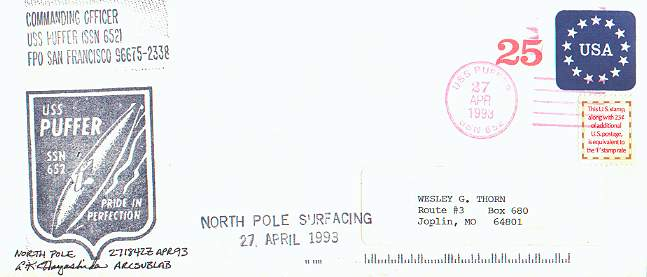 Cacheted cover from the U.S.S. Puffer on North Pole exercises.